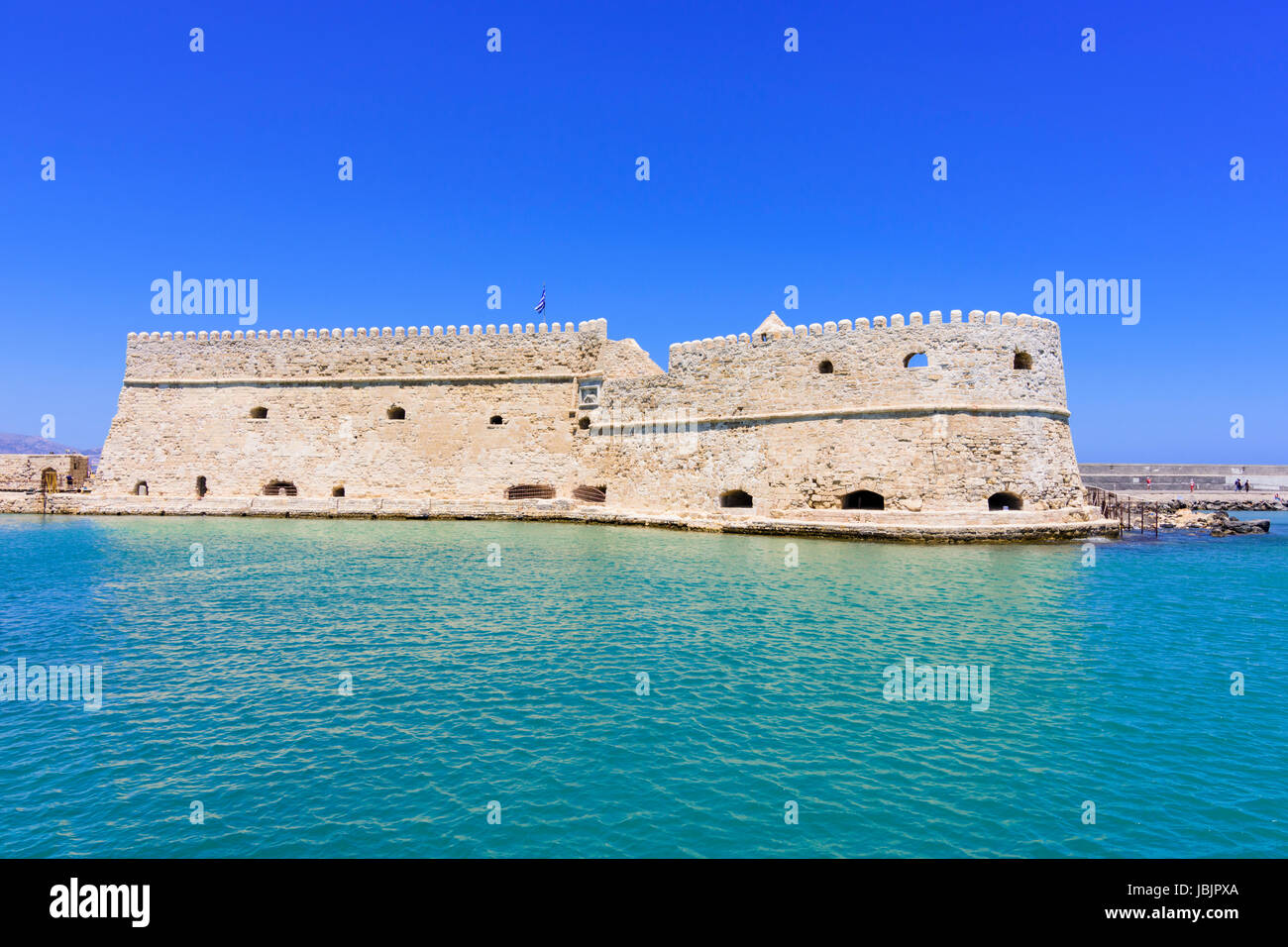 The Venetian Castle of Iraklion known as the Koules Fortress, at the entrance to the old harbour of Heraklion, Crete, - Stock Image