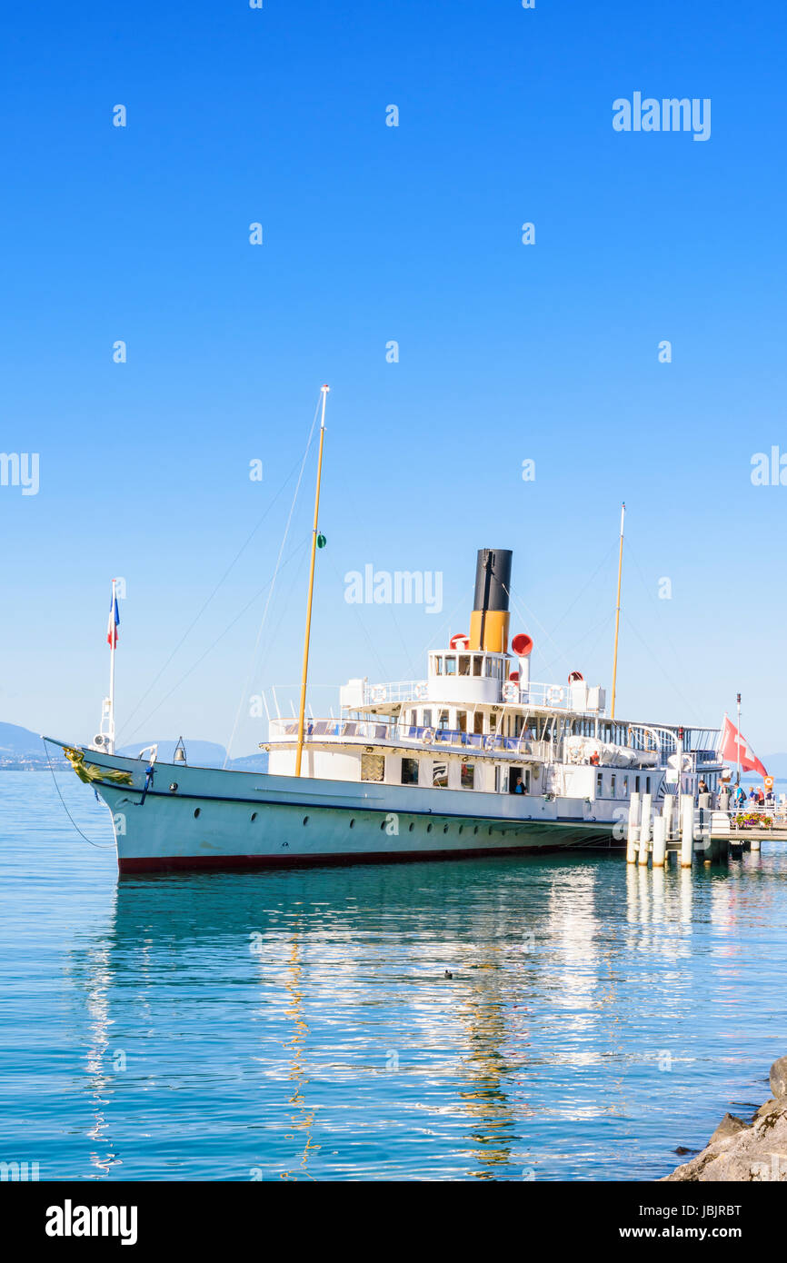 Belle Epoque paddle steamer La Suisse moored at the port of Lausanne-Ouchy, Lausanne, Switzerland Stock Photo