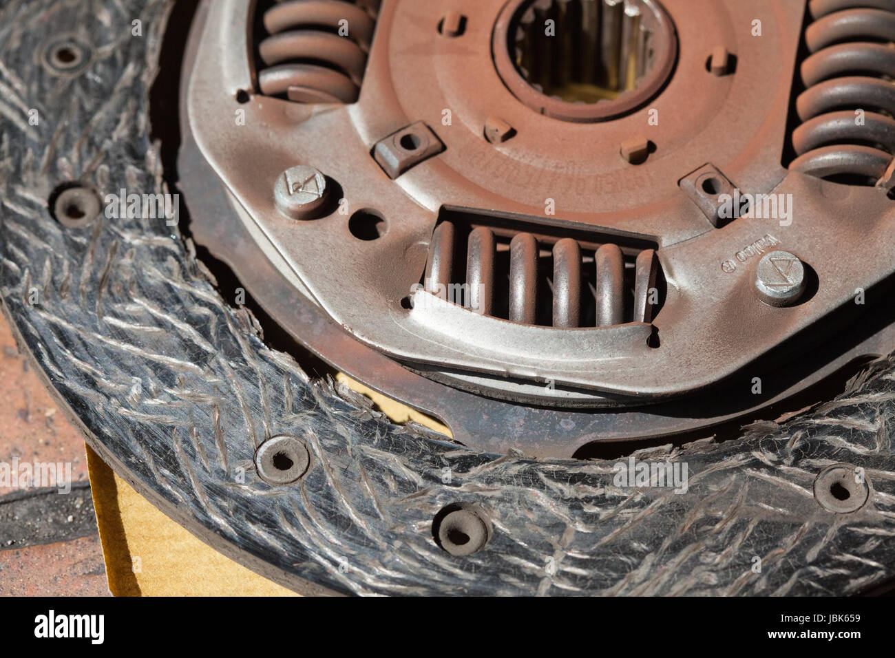 Worn clutch friction plate driven member - Stock Image