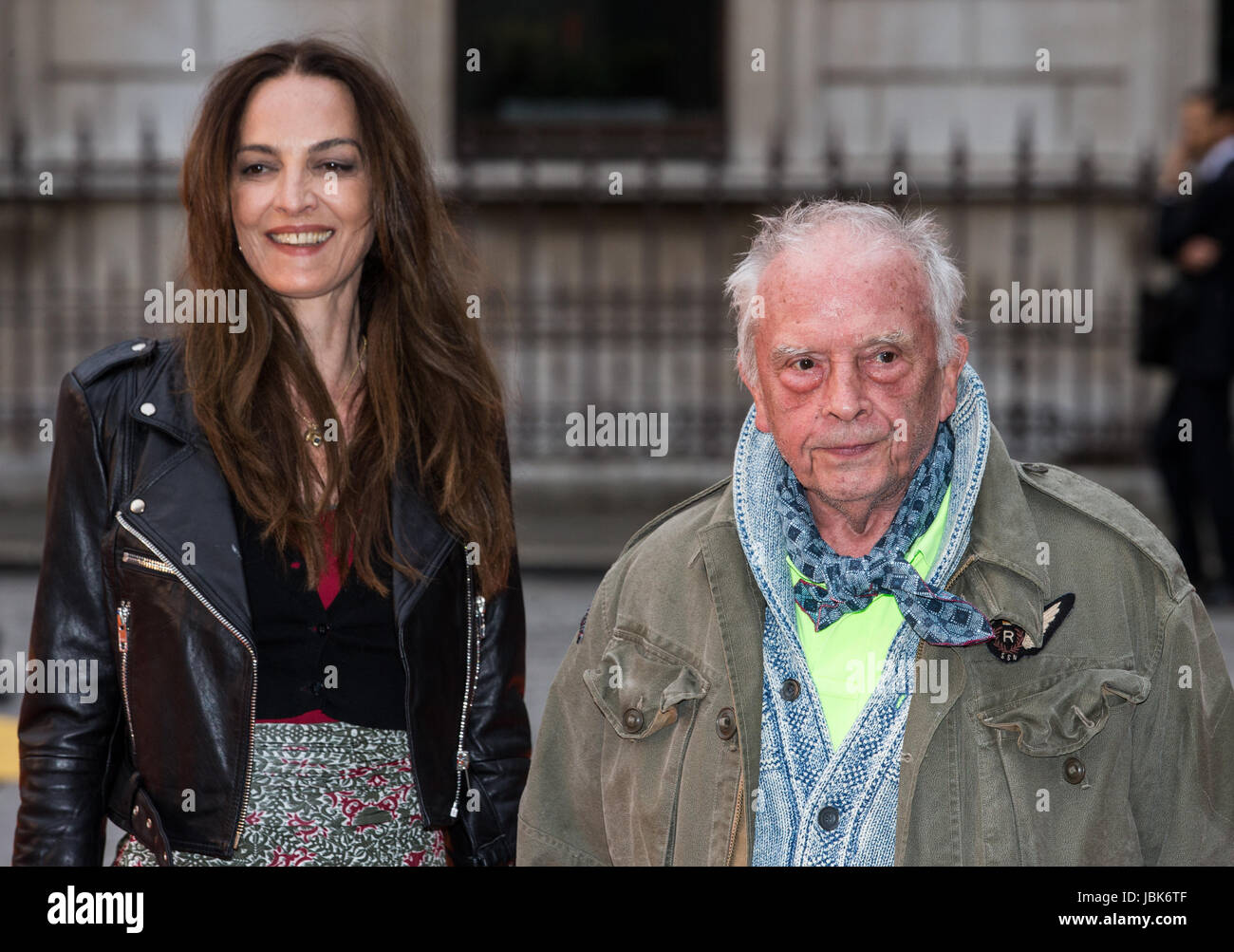 Photographer, David Bailey, and his wife Catherine Dyer at the VIP preview of the Royal Academy summer show 2017 - Stock Image