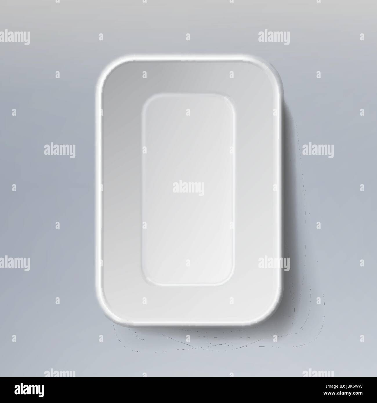 Empty Blank Styrofoam Plastic Food Tray Container. White Empty Mock Up. Good For Package Design - Stock Vector