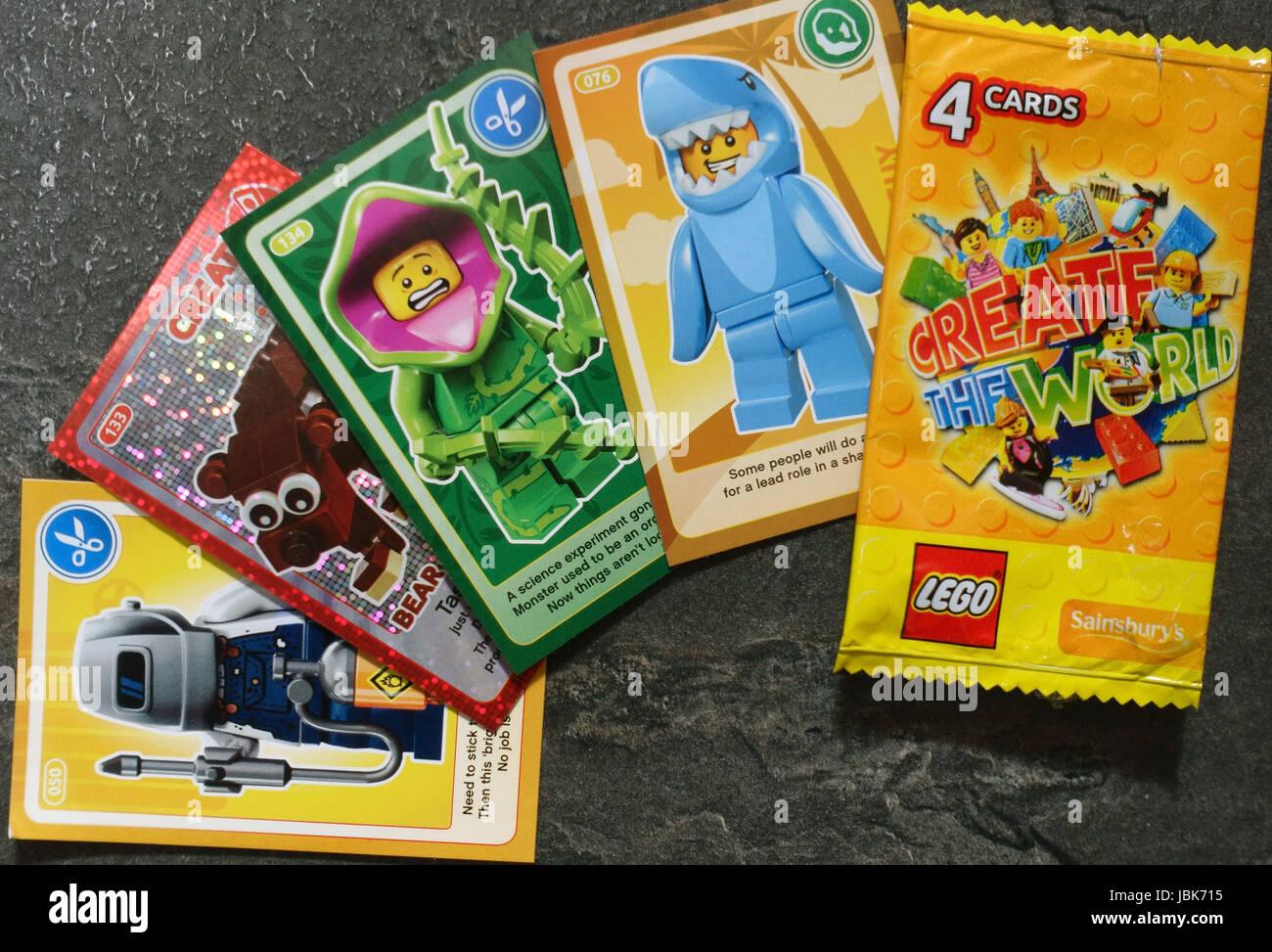 Create The World Lego trading cards, London - Stock Image