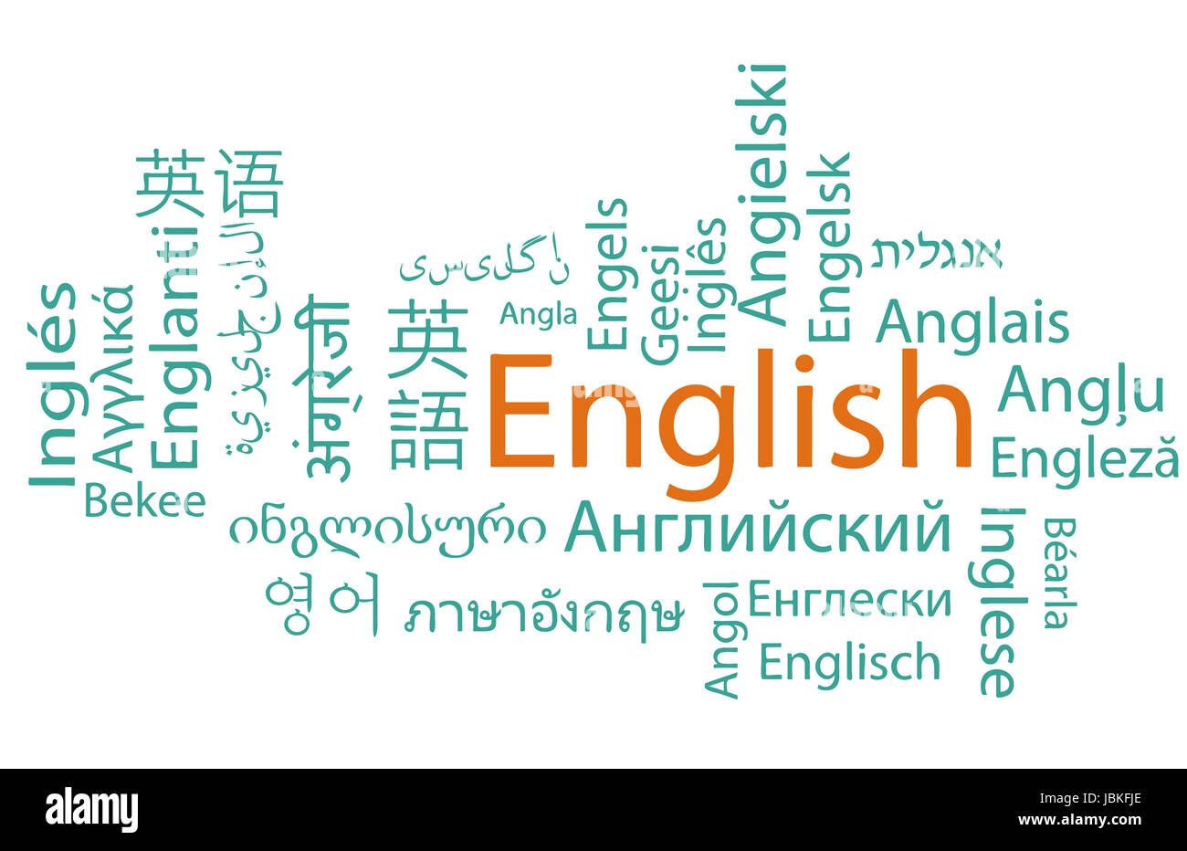 Learning English, different languages. Vector. - Stock Image