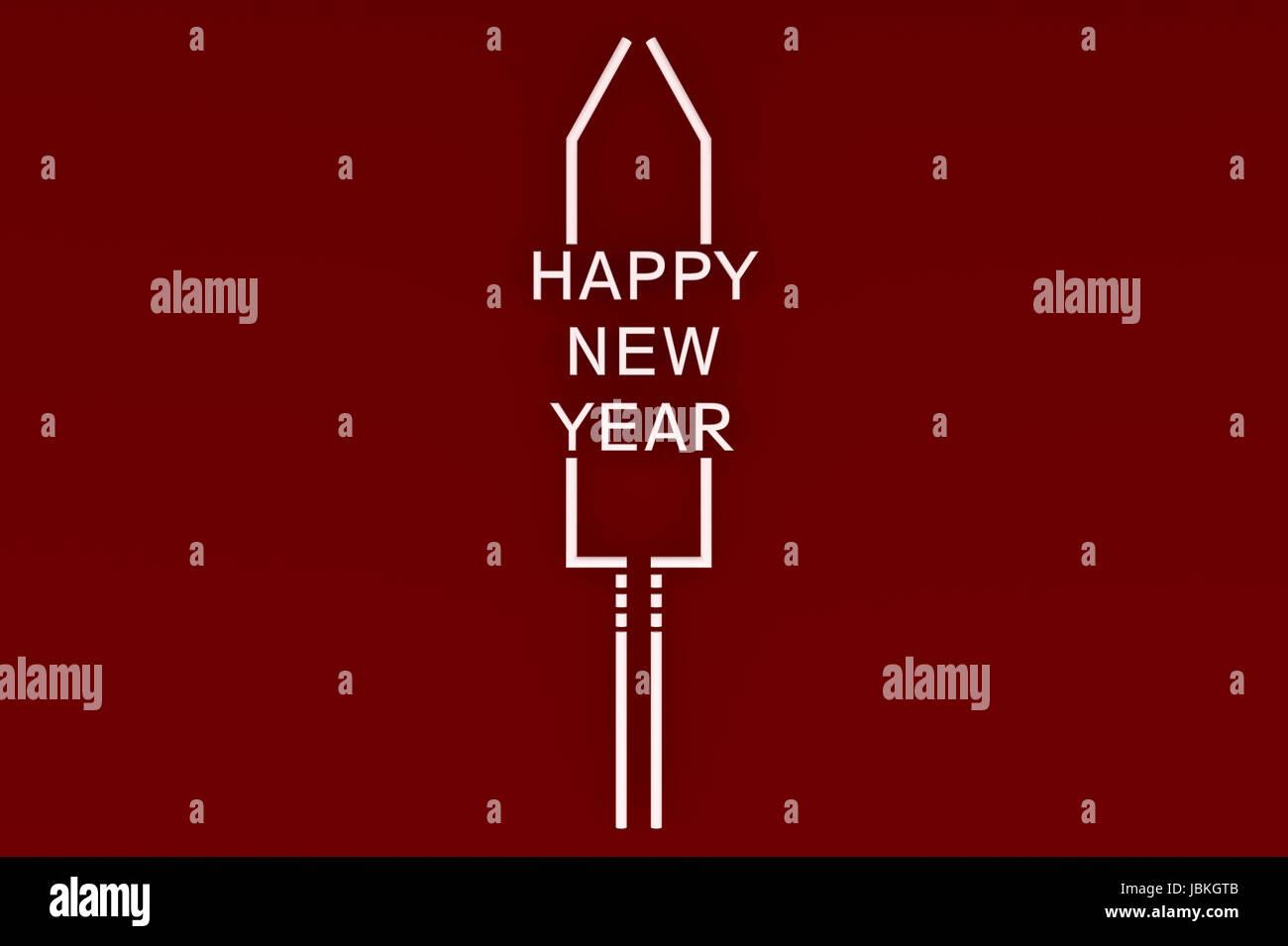 3d illustration Stylized New Year's Eve rocket on colored background - Stock Image