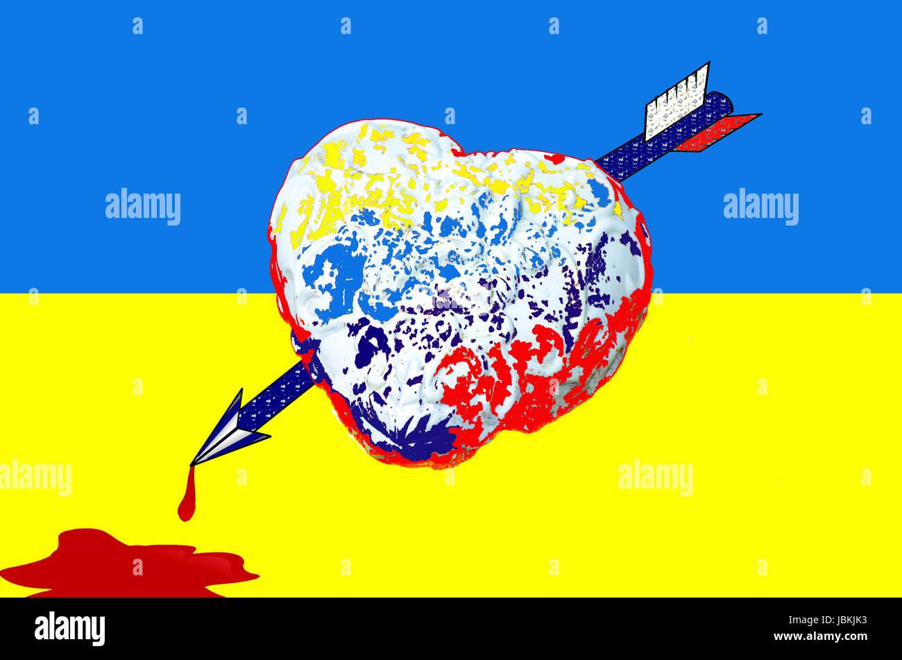 Ein Herz von einem Pfeil mit russischen Farben durchbohrt und eine Blutlache liegt auf der Fahne der Ukraine. - Stock Image