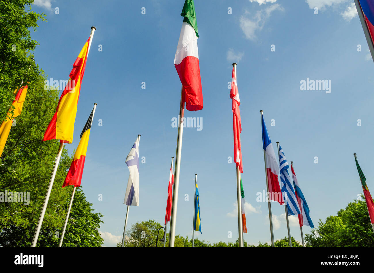 Flaggen der Welt, Fahnenmeer verschiedener Nationen und Organisation Stock Photo