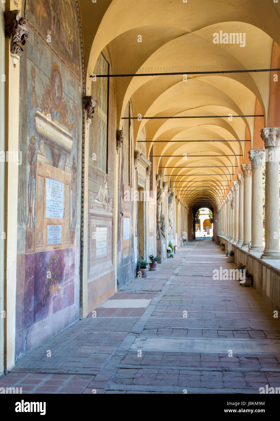 BOLOGNA, ITALY - MARCH 17, 2014: Old cemetery (certosa) by St. Girolamo church. Stock Photo