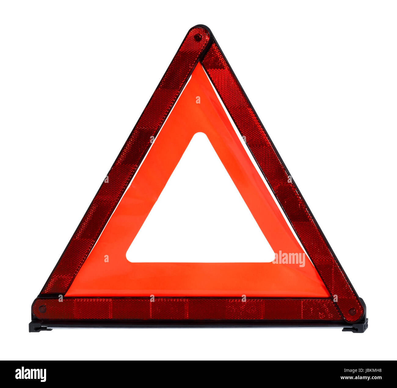 flexible triangular safety reflector in white back Stock Photo