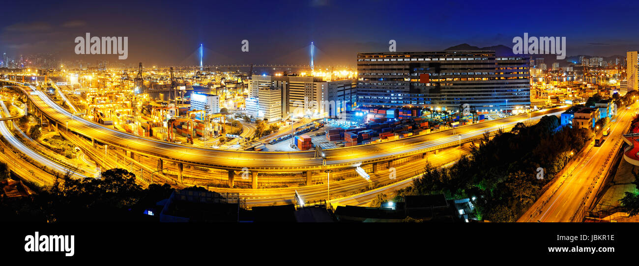 Kwai Tsing Container Terminals and highway in hong kong - Stock Image