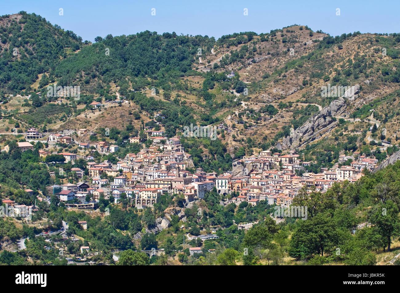 Panoramic view of Castelmezzano. Basilicata. Italy. Stock Photo