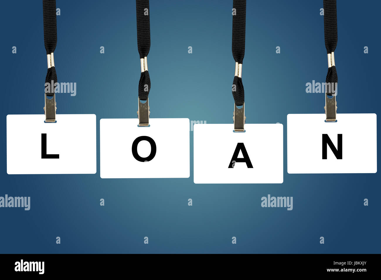 Loan word on badge with blue background - Stock Image