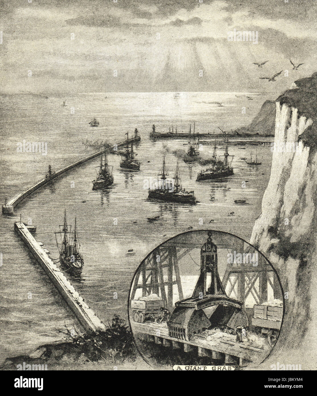Dover harbour of refuge completed in 1909 - Stock Image