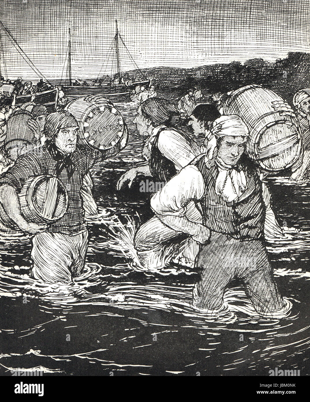 Smugglers at work, 1910 illustration - Stock Image