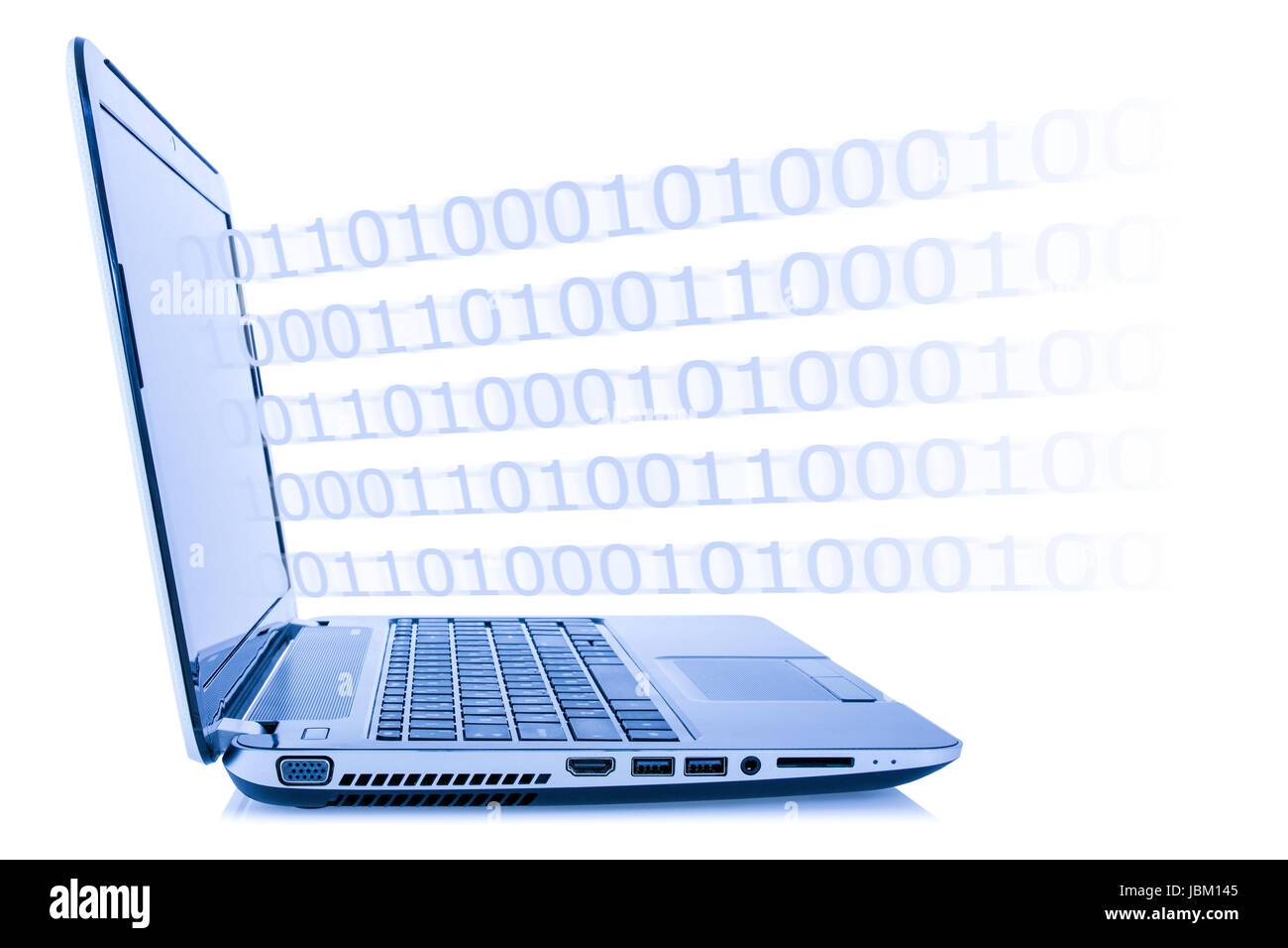 Computer technology concept. Program code coming out from laptop, isolated on white background - Stock Image