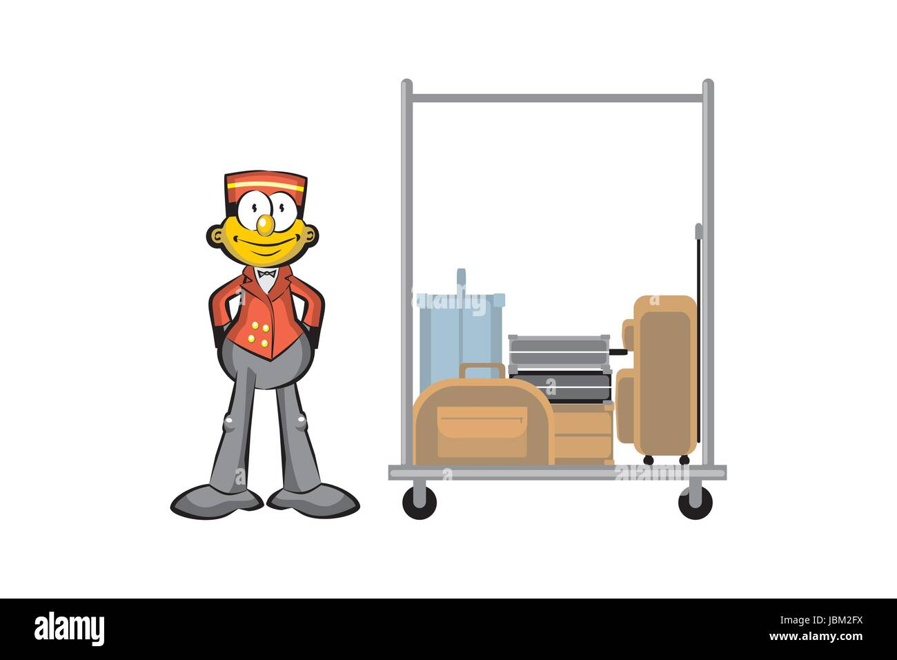 Bellboy and suitcases isolated on white. Conceptual illustration about travels and hotels - Stock Vector