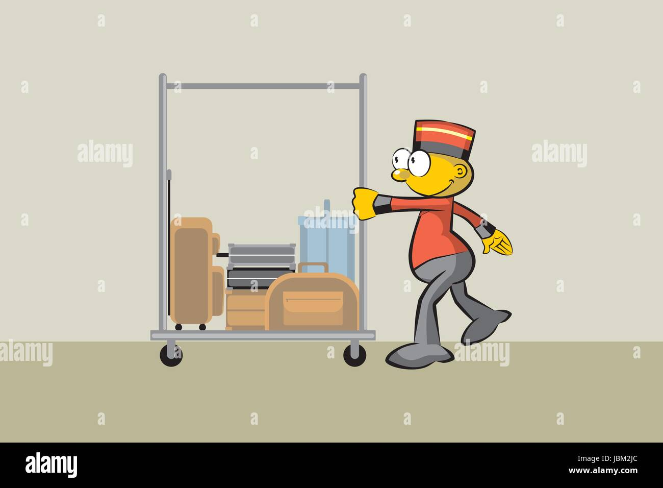 Bellboy and suitcases. Conceptual illustration about travels and hotels - Stock Vector