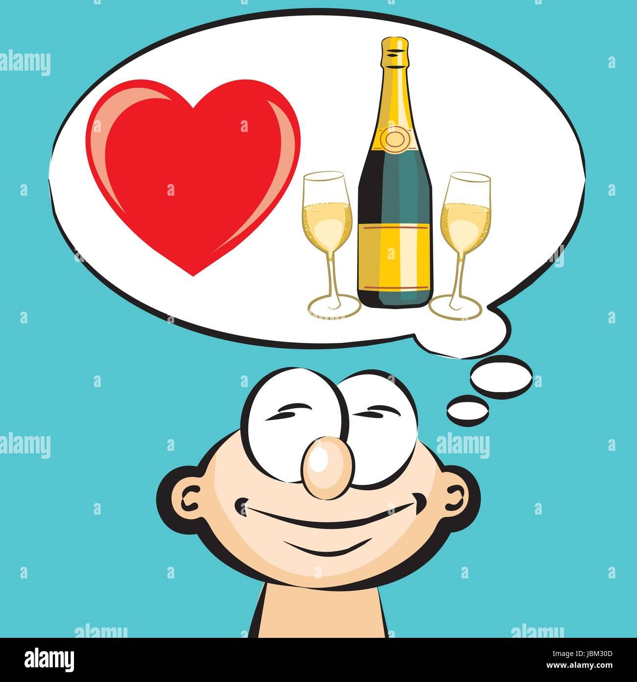 I love to drink champagne - emoticon, emoji  Conceptual
