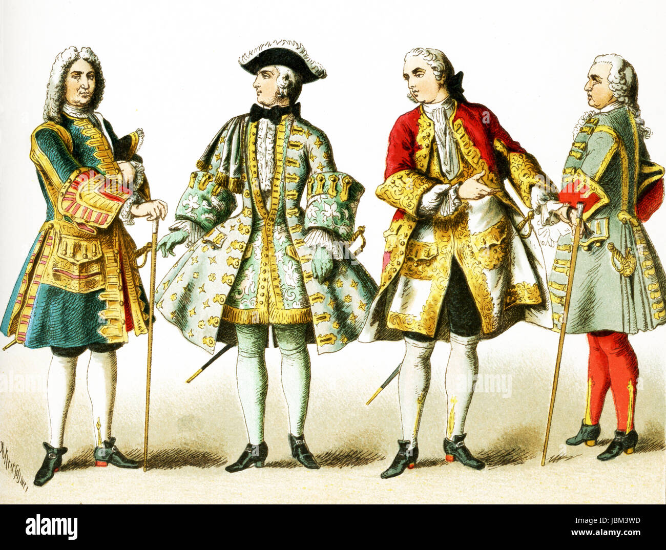 The figures represented here are French people from 1700 to 1750 A.D. They  are, from left to right: four French men of rank. The illustration dates to  1882.