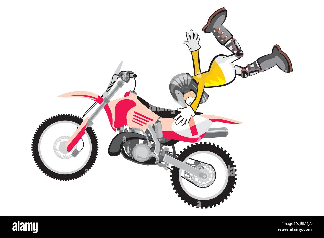 Motocross Rider Isolated Over White Backgrorund Cartoon Style Stock Vector Image Art Alamy