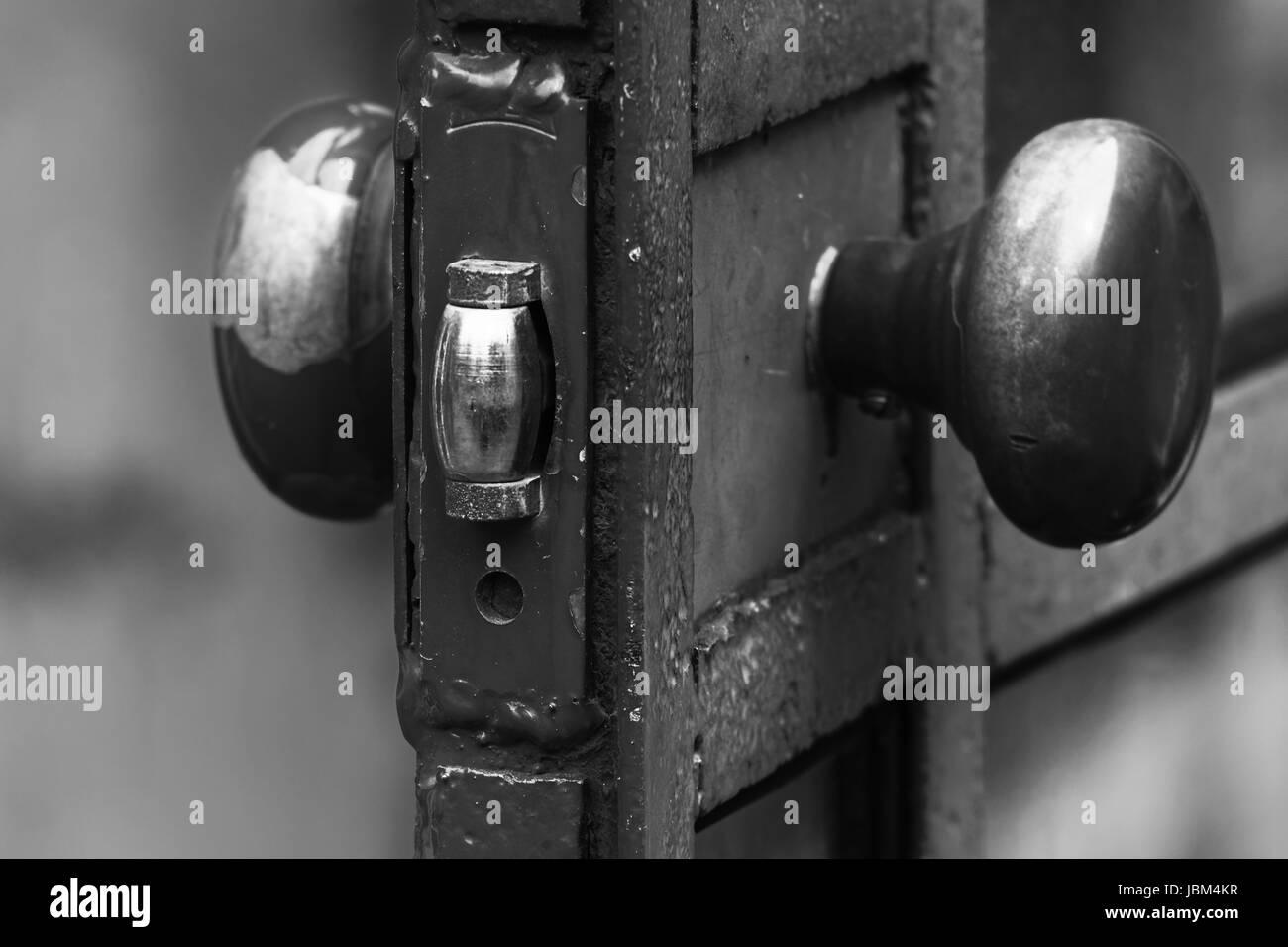 Photo old door lock, telephone box - Stock Image