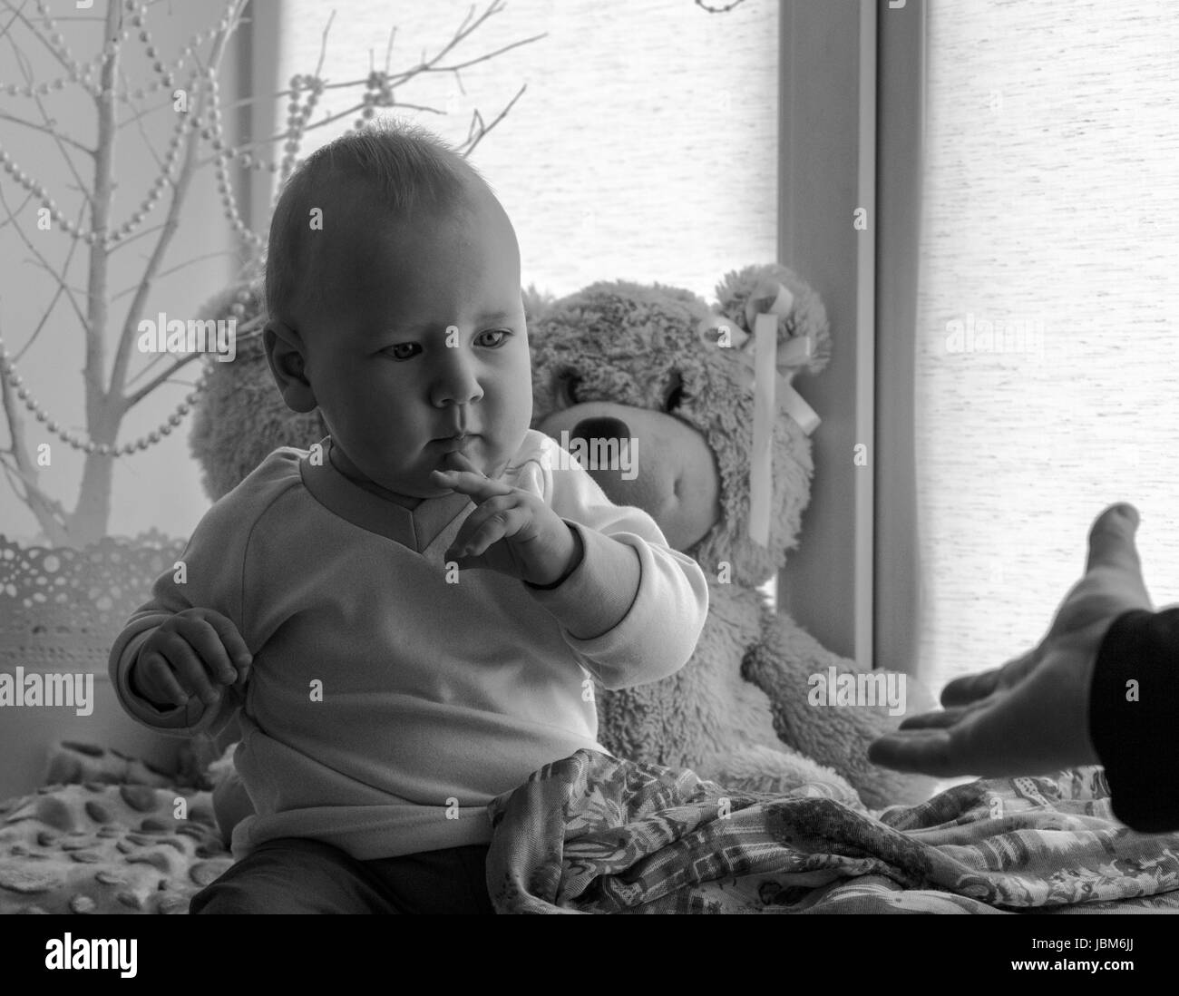 Portrait of baby boy. - Stock Image