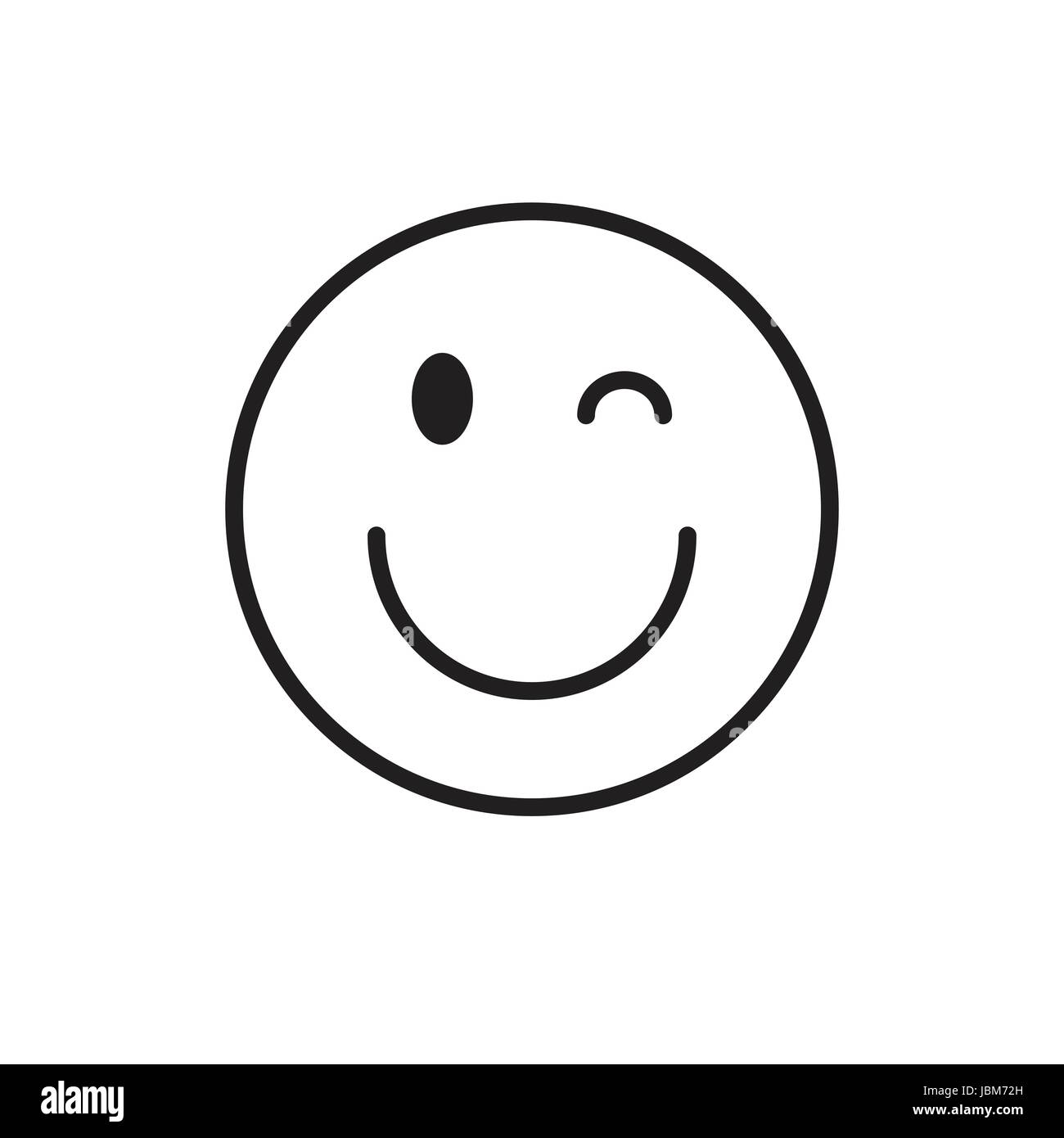 Emoticon Wink Black and White Stock Photos & Images - Alamy