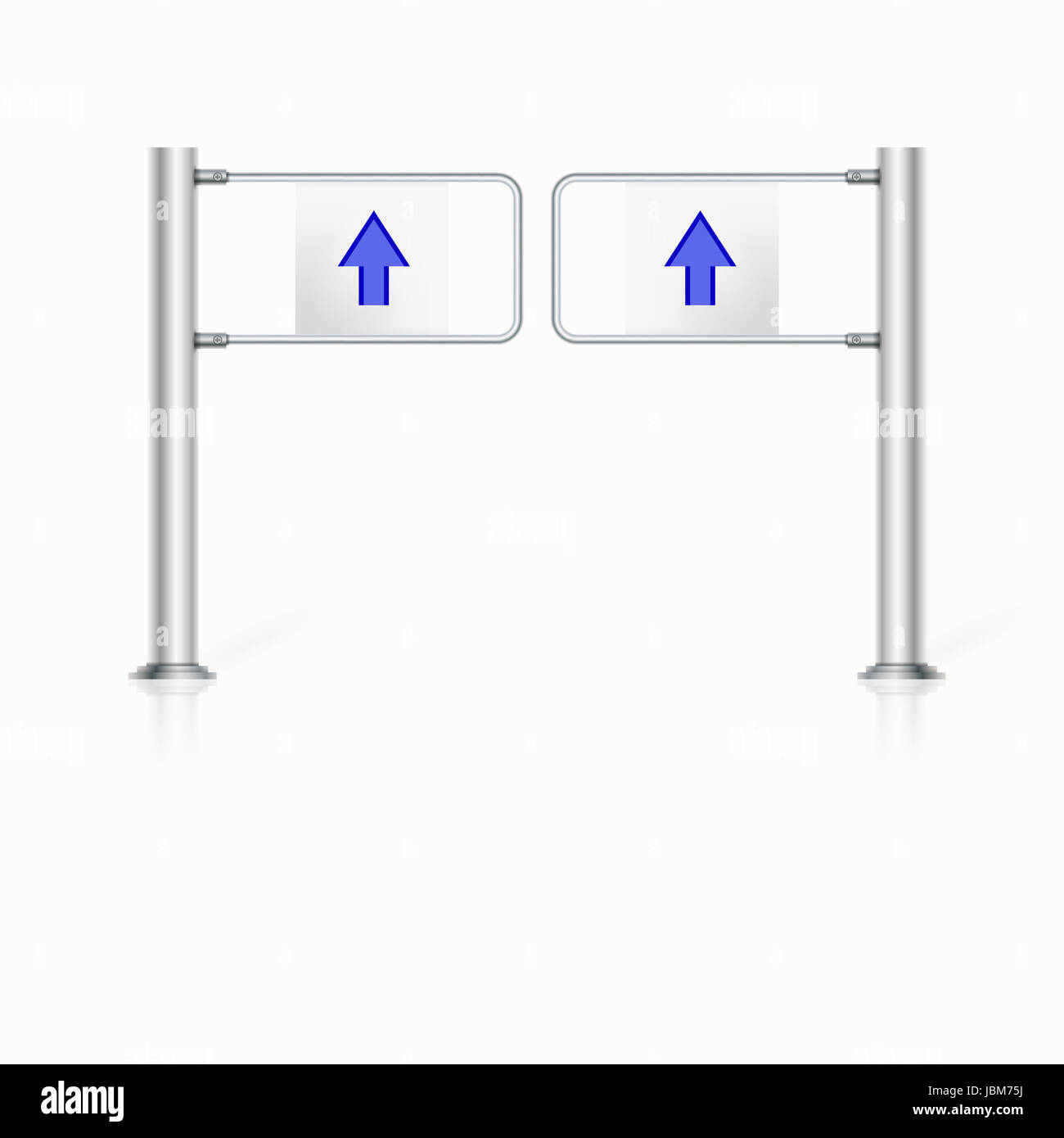 Steel turnstile with two blue arrows. Isolated vector illustration on white. Stock Photo