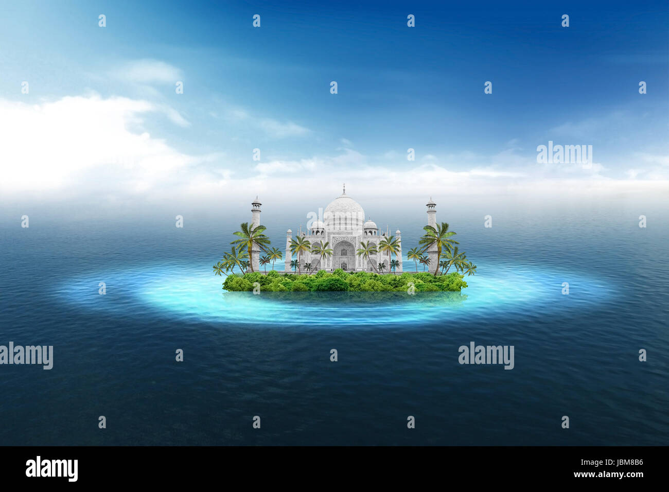 India: Agra landmark, Taji Mahal, on the tropical island in the middle of the ocean - Stock Image