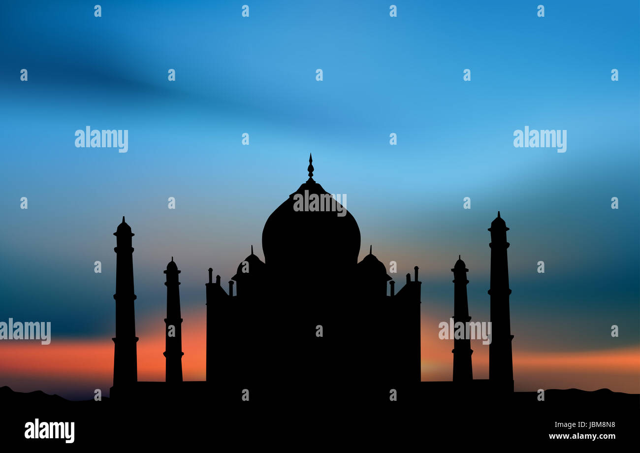 Taji Mahal. Illustration card - Stock Image