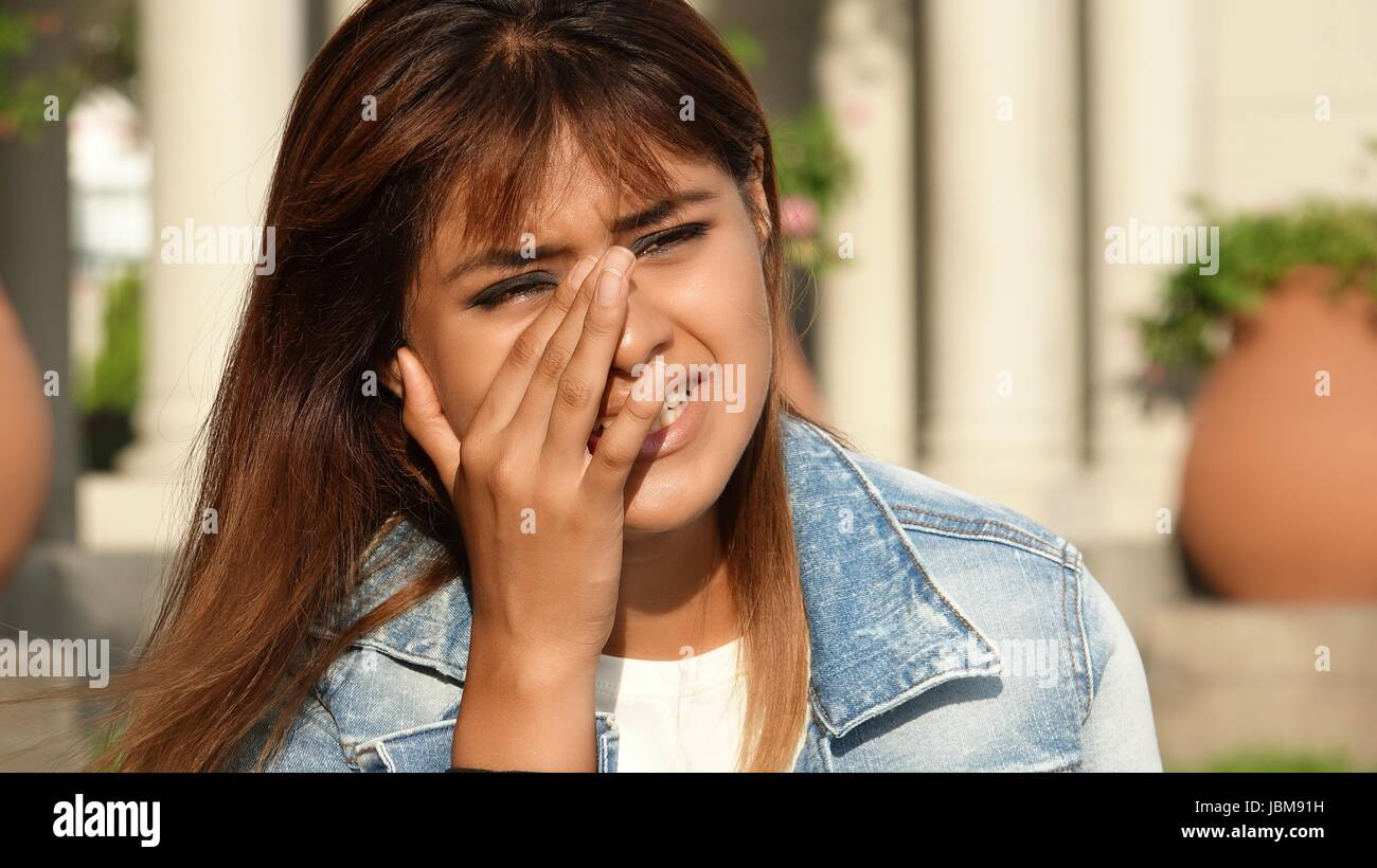 Tearful Young Female - Stock Image