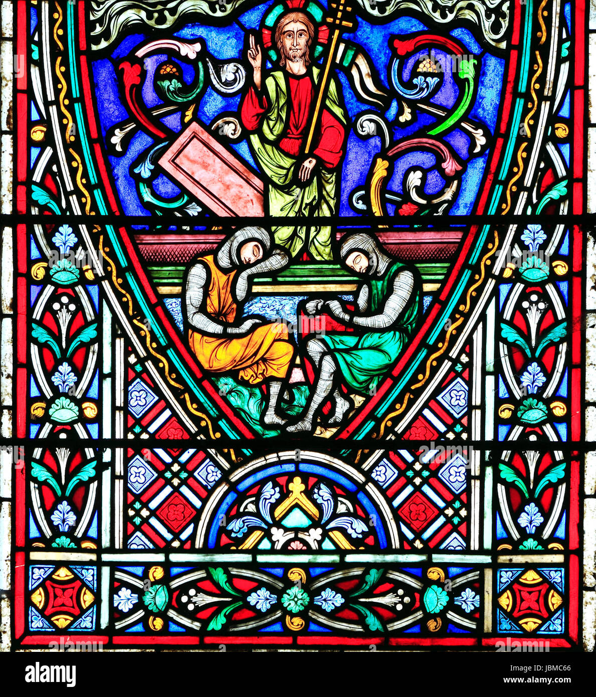 Resurrection Of Christ, while Roman guards sleep, stained glass window by Didron of Paris, 1860, Story of Easter, - Stock Image