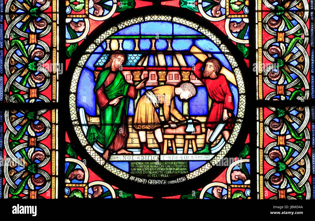 Noah and The Ark, stained glass window by Alfred Gerente, 1849, Ely, building the Ark, Bible story, stories - Stock Image