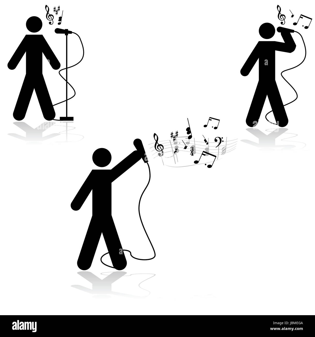 Icon illustration showing a man in three different singing poses with musical notes beside him - Stock Image