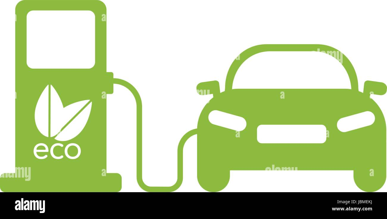 Green Electric Car Charging Icon Flat Illustration Eps10 Stock