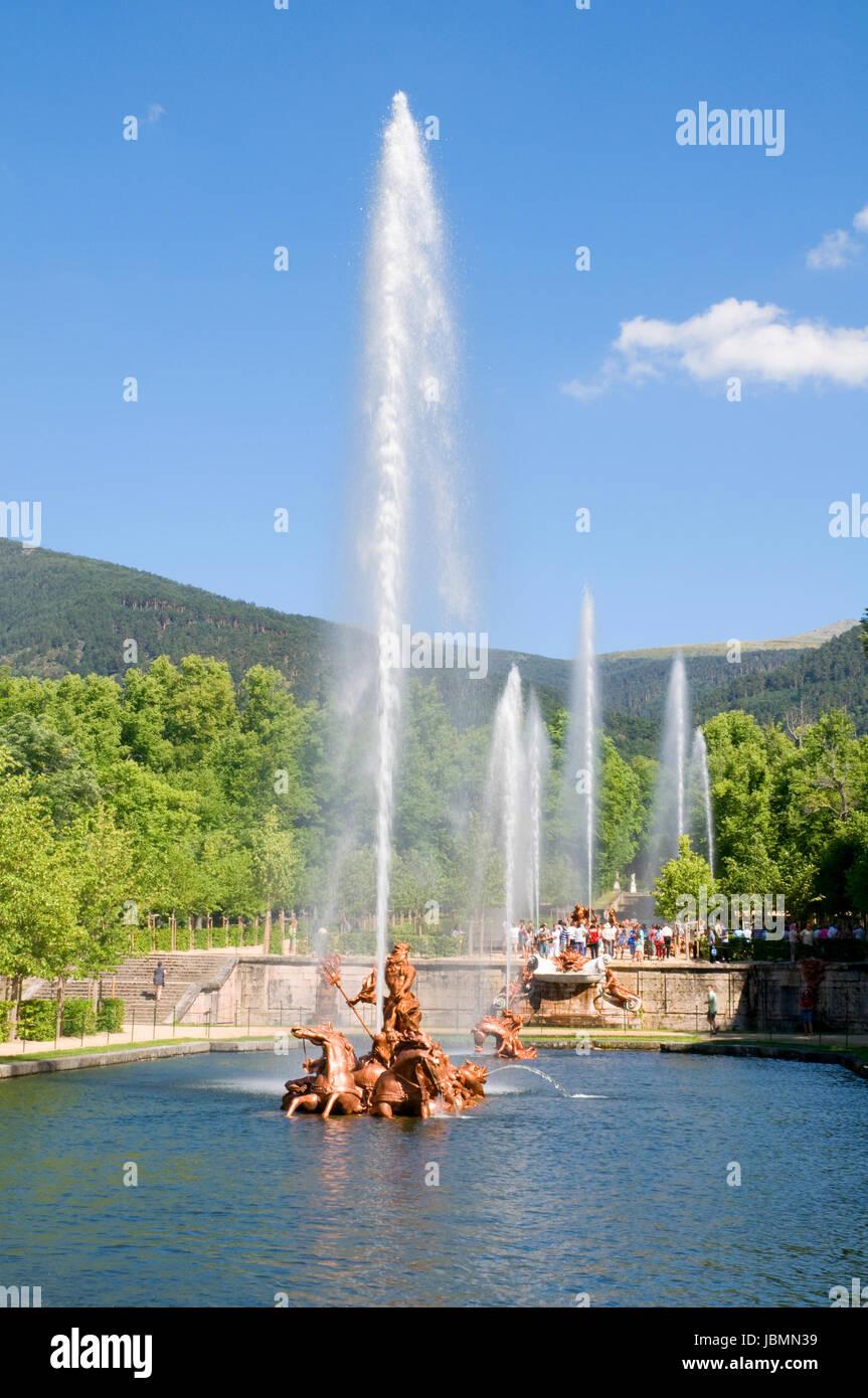 Carrera de Caballos fountain. La Granja de San Ildefonso, Segovia province, Castilla Leon, Spain. - Stock Image