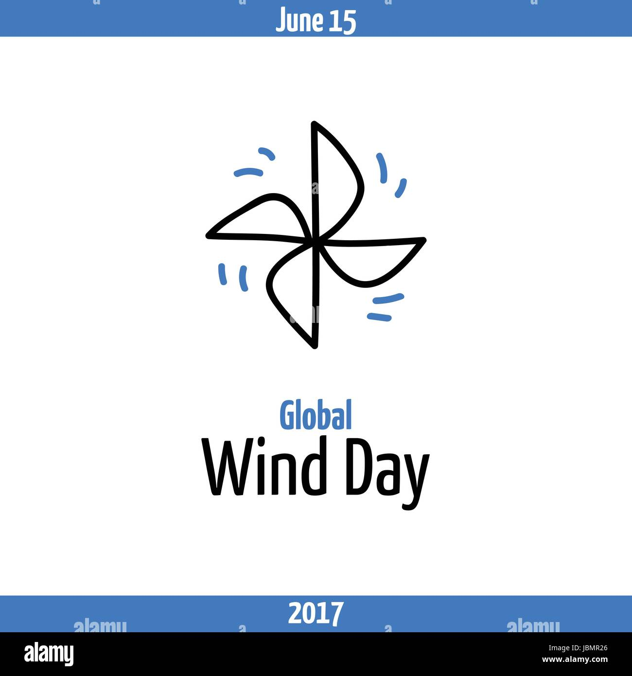Global Wind Day 2017 June 15 Banner With Pinwheel Symbol Of Wind