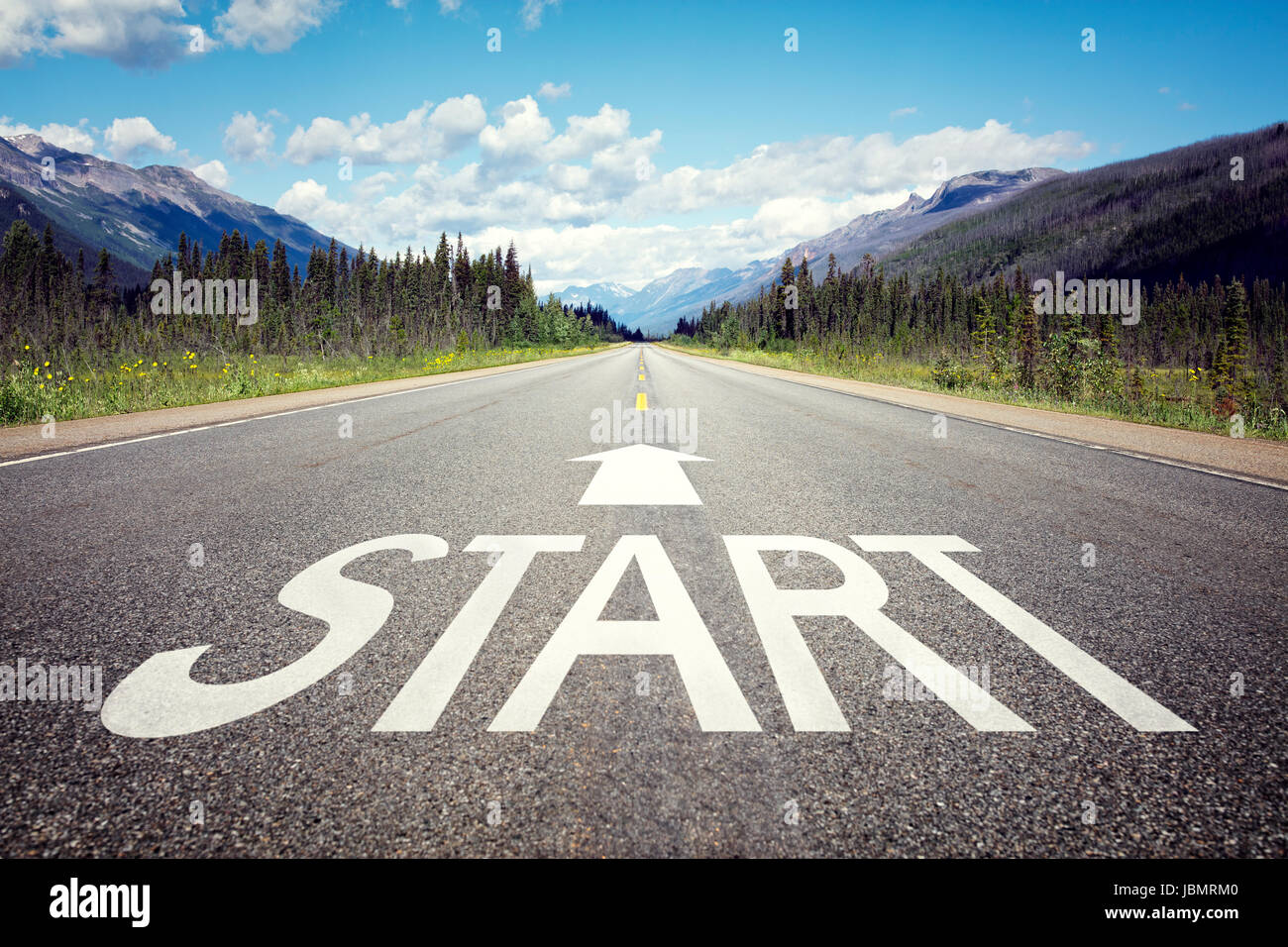 Start line on the highway concept for business planning, strategy and challenge or career path, opportunity and - Stock Image