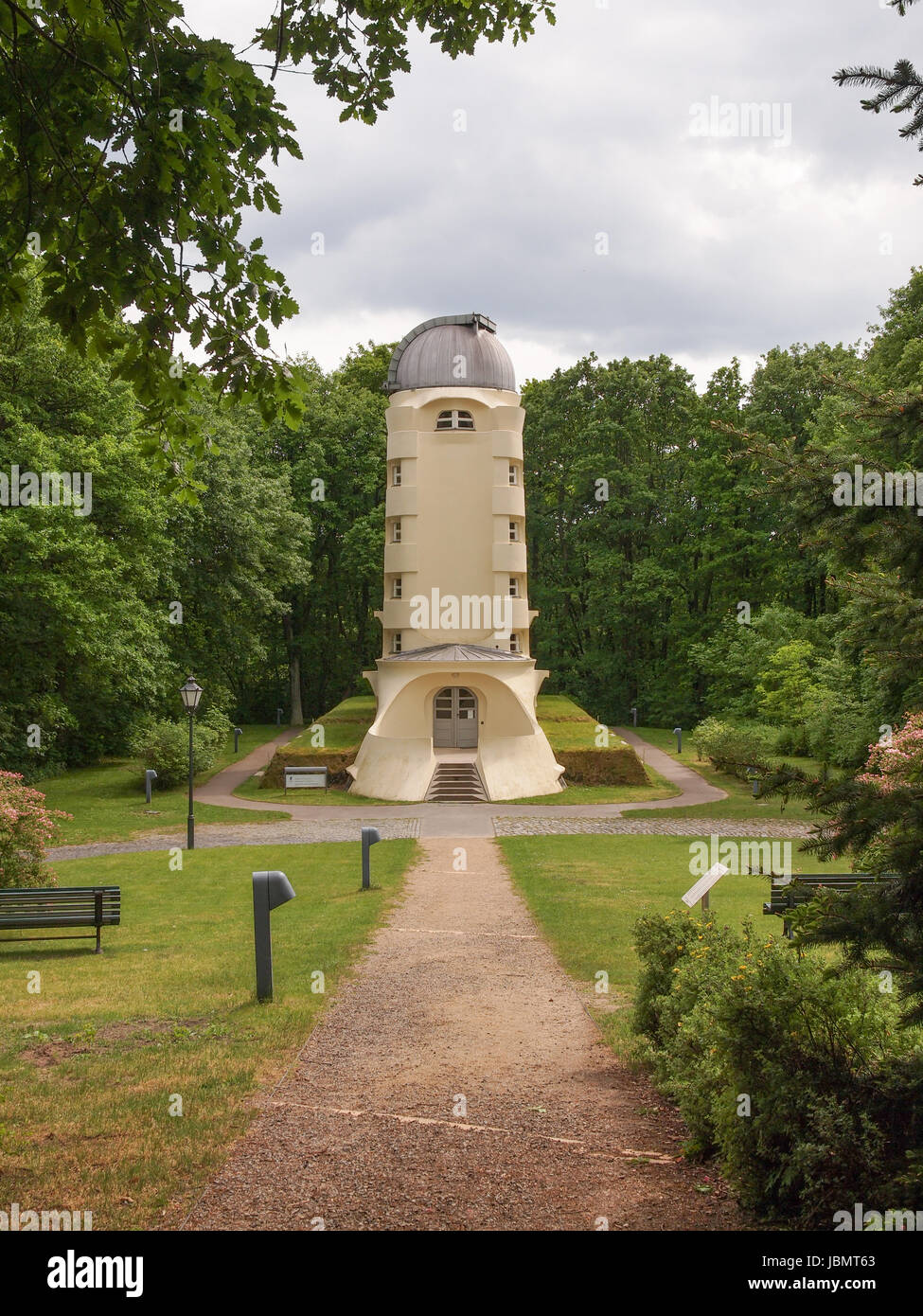 POTSDAM, GERMANY - MAY 10, 2014: The Einstein Turm astrophysical observatory was designed by architect Erich Mendelsohn - Stock Image