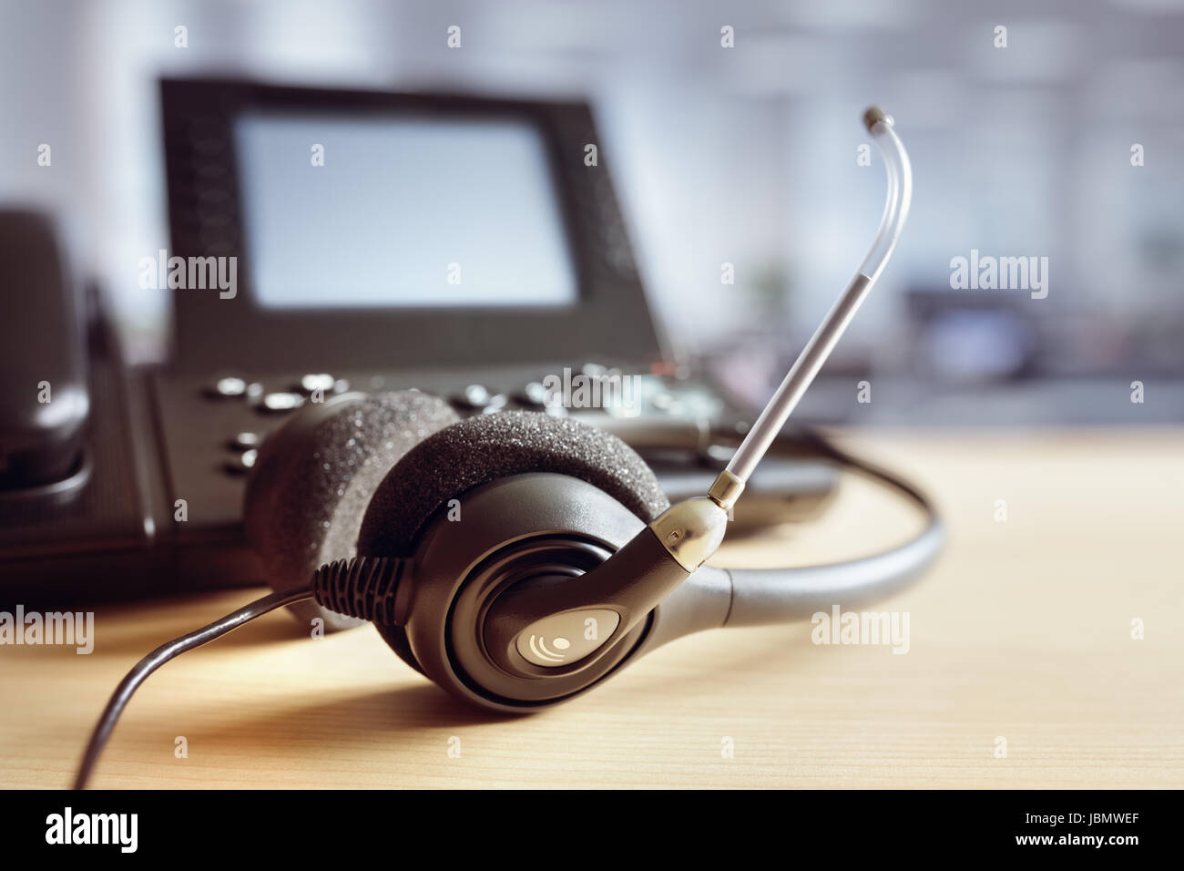 VOIP headset headphones and telephone concept for communication, it support, call center and customer service help Stock Photo