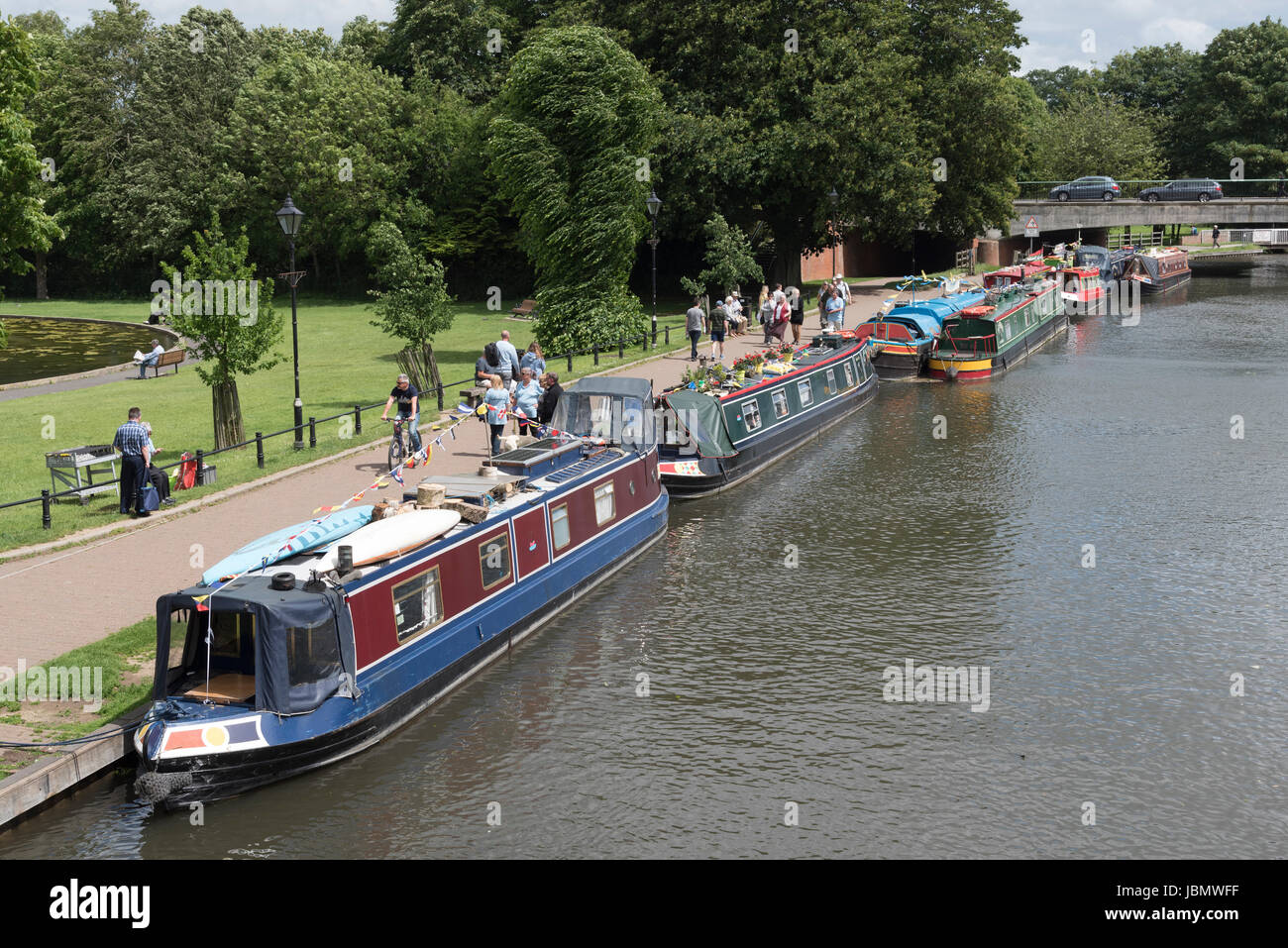 Newbury Berkshire UK 11th June 2017 Boaters Christan Fellowship Boats of Hope on a weekend misson along the Kennet - Stock Image