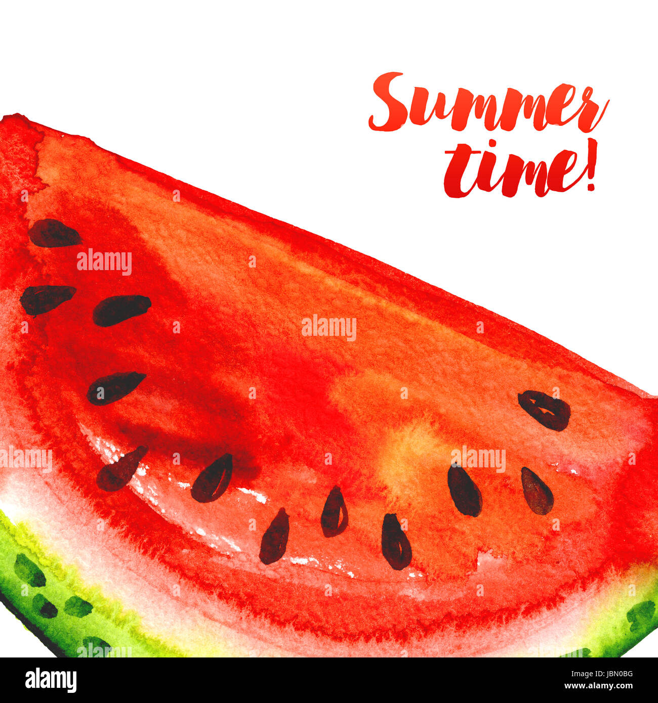 summer time juicy banner with watermelons watercolor template stock