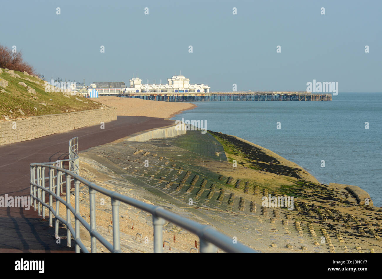 Seafront promenade towards Pier at Southsea in Portsmouth. Hampshire. England. Stock Photo