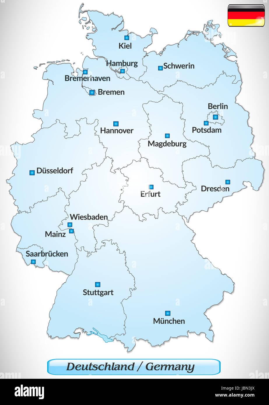 karte von deutschland mit hauptstädten Karte von Deutschland mit Hauptstädten in Blau Stock Photo   Alamy