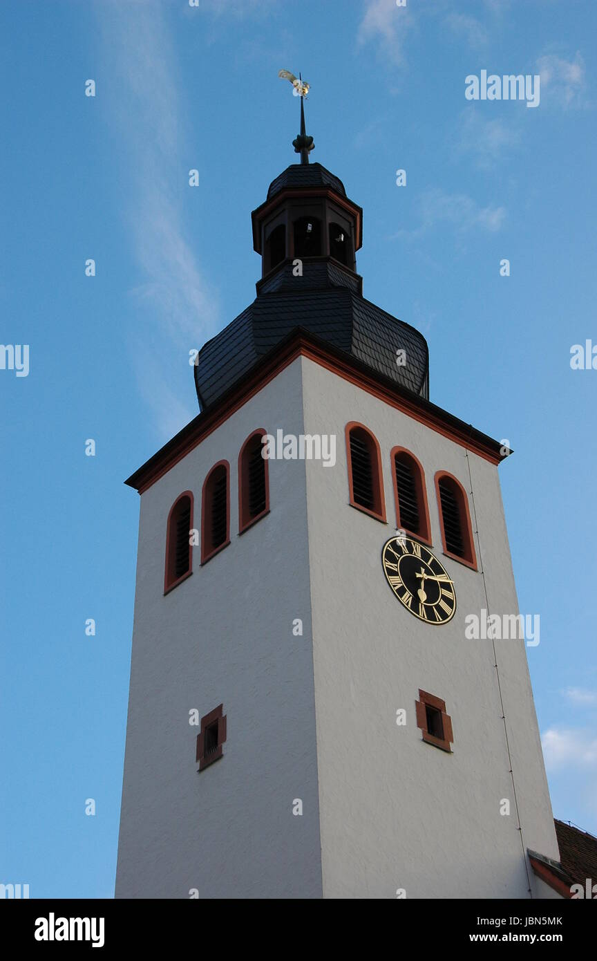 church tower of the protestant church in neuburg on the rhine Stock Photo