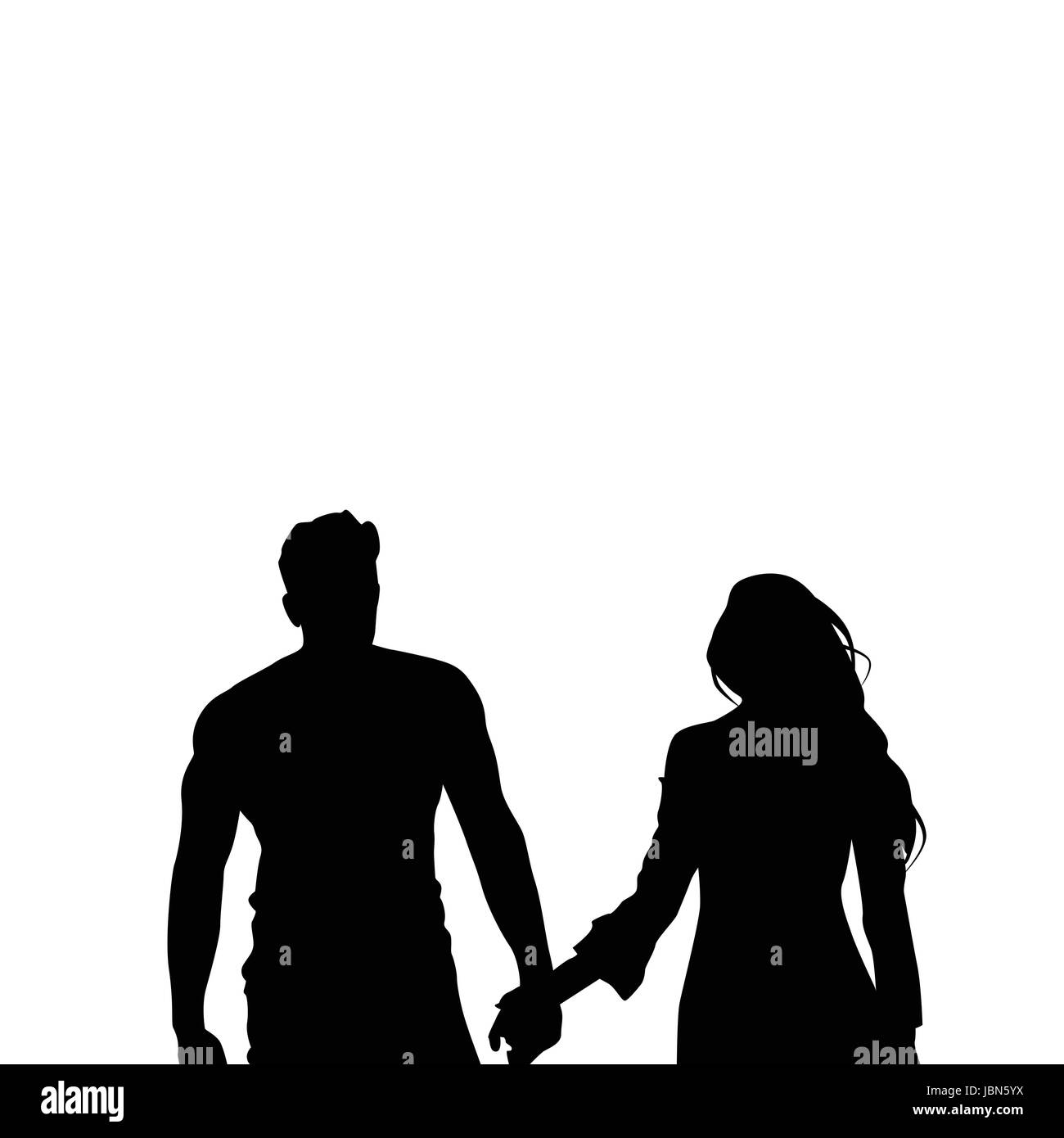 Black silhouette romantic couple holding hands isolated over white background lovers man and woman