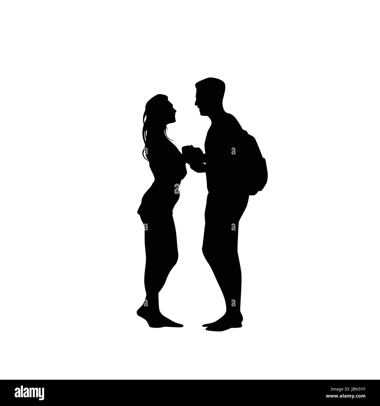 Black silhouette romantic couple holding hands looking at each other isolated over white background lovers man and woman