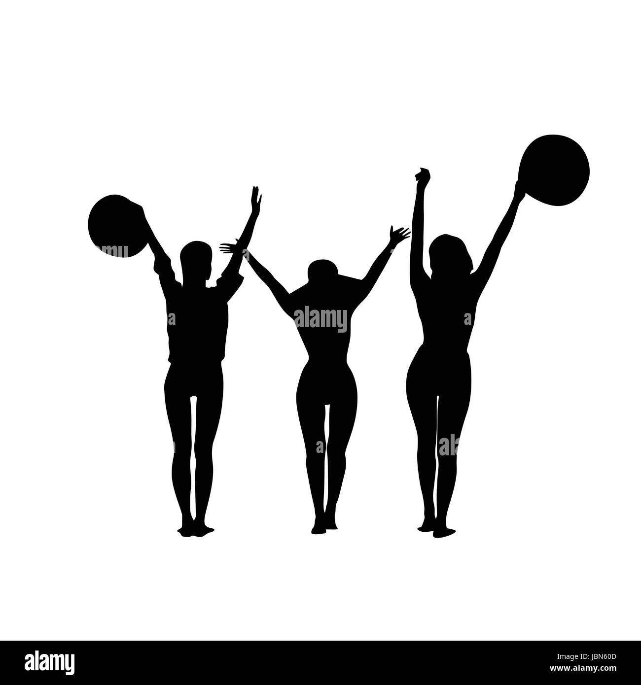 Black Silhouette Girls Group Cheerful Raised Hands Full Length Isolated Over White Background Happy Woman Holding - Stock Vector