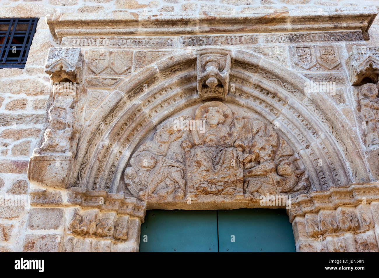 Facade of the Pilgrim hospital in Monterrey Castle, fortress and palace, Ourense province, Galicia, Spain - Stock Image