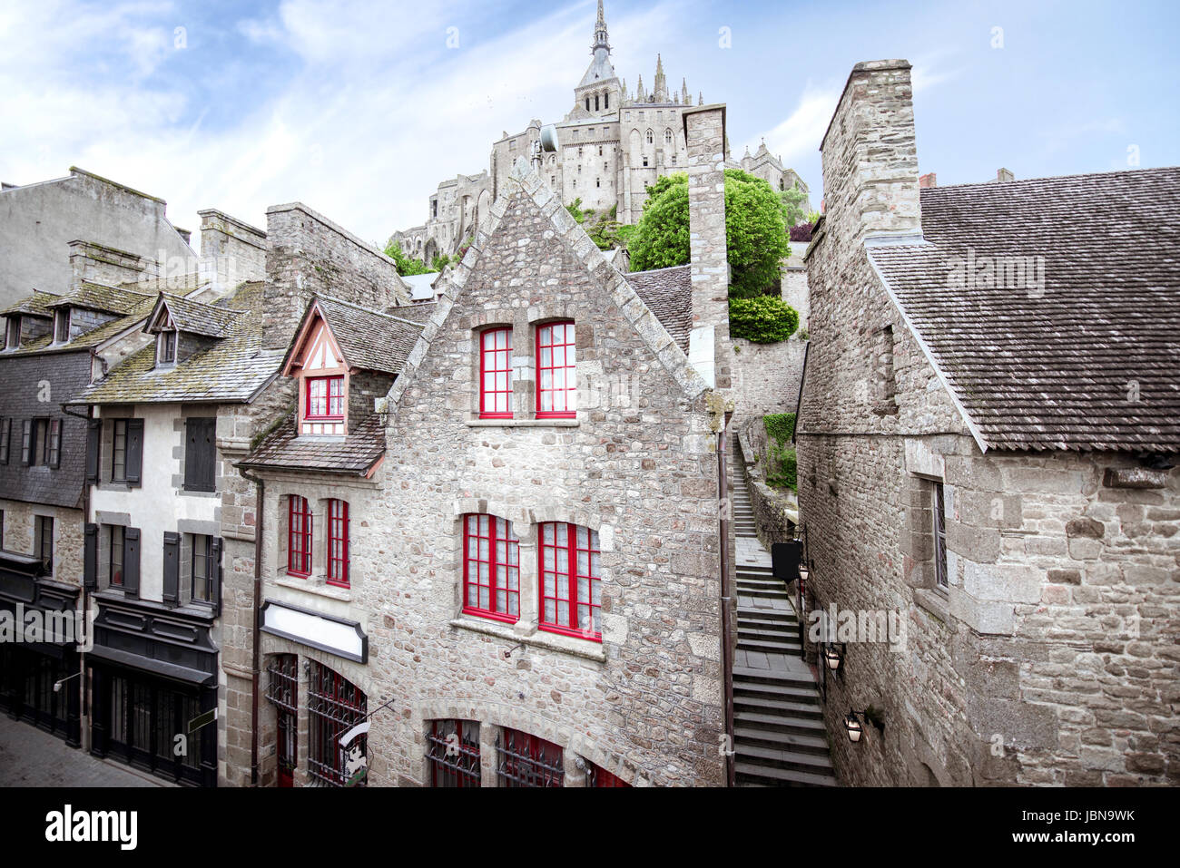 Buildings on the Mont Saint Michel island - Stock Image