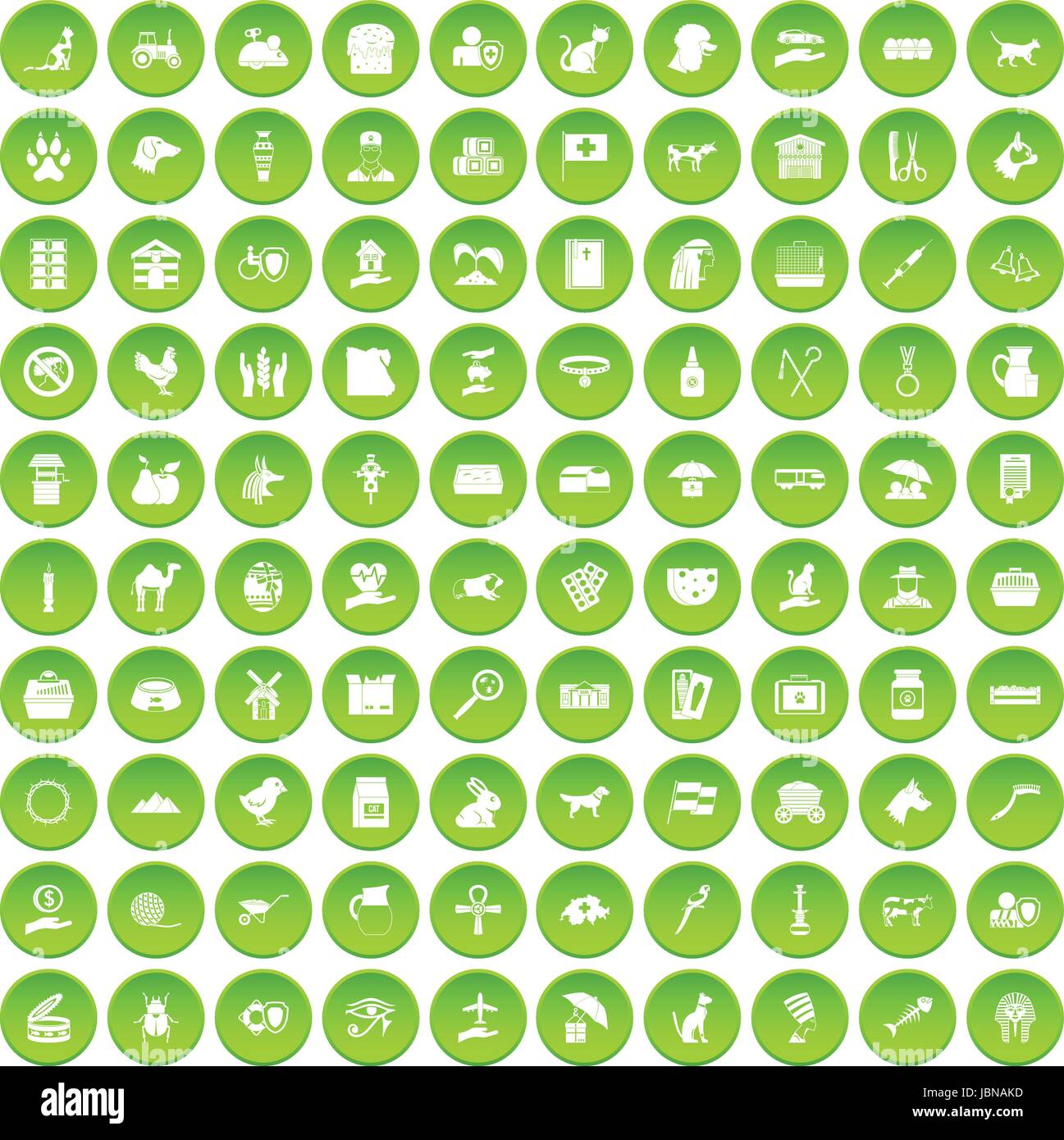 100 pets icons set green circle isolated on white background vector illustration - Stock Image